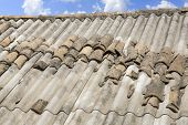 foto of asbestos  - Hazardous old asbestos roof - JPG