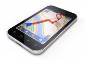 Mobile Gps-Konzept - Smartphone-Navigation, isolated on white