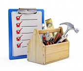 stock photo of clipboard  - Clipboard and toolbox with tools - JPG