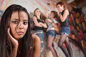Sad Teen Female Near Group