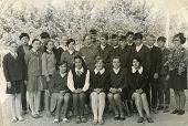 MOSCOW, RUSSIA, CIRCA 1960s: Antique photo, Group portrait of school graduates, circa 1960s