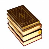 foto of leather-bound  - Stack of leather bound hardcover fiction books - JPG