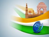 pic of india gate  - India famous monuments on Indian tricolors wave  and 3D Ashoka wheel - JPG