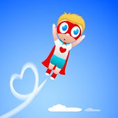 Cute little boy in superhero outfits on blue background, Love Concept.