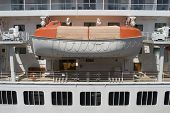 image of safe haven  - A cruise ship lifeboat concept of a safe haven or a backup plan - JPG