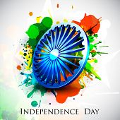 stock photo of indian independence day  - 3D Ashoka Wheel on colorful grungy background for Indian Independence Day - JPG