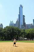 Softball teams playing at Heckscher Ballfields in Central Park