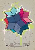 Rhombic hexecontahedron with hand drawn hatching. Graffiti style