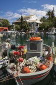 Fisher Boot auf der Insel Korfu, Griechenland