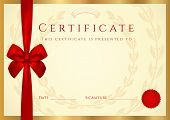 Certificate / Diploma template with wax seal, red bow (ribbon)