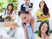 Collage de alegres mujeres utilizando su teléfono celular