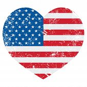 United States on America retro heart flag - vector