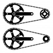 foto of mechanical drawing  - vector bicycle chain sprocket transmission silhouettes - JPG