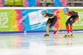 INNSBRUCK, AUSTRIA - JANUARY 18 Kei Saito (Japan, #30) places 4th in the men's 1000m  short track A