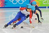 INNSBRUCK, AUSTRIA - JANUARY 18 Yin-Cheng Chang (Taiwan, #35) places third in the men's 1000m  short