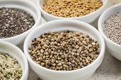 foto of flax seed  - hemp seeds in a white ceramic bowl among other healthy seeds - JPG