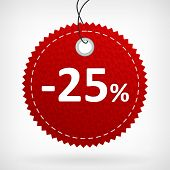 Red Leather Price Labels -25 Percent
