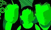stock photo of nuclear family  - Illustration of nuclear family in green colour background - JPG