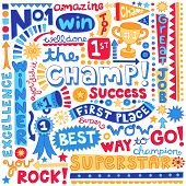 The Champ Success Word Doodles- Sports Trophy Winner Notebook Doodles-  Illustration Hand-Drawn Lett