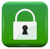 white padlock on green button, vector icon