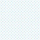 Seamless vector pattern with cute pastel baby blue polka dots on white background.