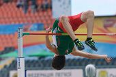 DONETSK, UKRAINE - JULY 11: Luis Andres Casarez of Mexico competes in high jump in Octathlon during