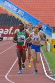DONETSK, UKRAINE - JULY 11: A. Hinriksdottir, Iceland (right), D. Edao, Ethiopia (left), and other g