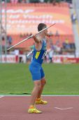 DONETSK, UKRAINE - JULY 11: Maksym Klivtsur of Ukraine competes in javelin throw in Octathlon during 8th IAAF World Youth Championships in Donetsk, Ukraine on July 11, 2013