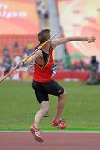 DONETSK, UKRAINE - JULY 11: Tobias Capiau of Belgium competes in javelin throw in Octathlon during 8th IAAF World Youth Championships in Donetsk, Ukraine on July 11, 2013