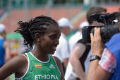 DONETSK, UKRAINE - JULY 11: Kokeb Tesfaye of Ethiopia give an interview after the heat in 800 m duri