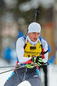 SEEFELD, AUSTRIA - JANUARY 19 Jakub Topor of team Poland places 12th in the mixed biathlon relay eve
