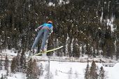 SEEFELD, AUSTRIA - JANUARY 19 William Rhoads (USA) jumps in Seefeld during a training session on Jan