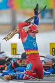 SEEFELD, AUSTRIA - JANUARY 19 Ondrej Hosek of team Czech Republic places 7th in the mixed biathlon r