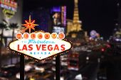 stock photo of las vegas casino  - Welcome to Las Vegas Nevada With Strip in the Background - JPG