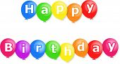 pic of happy birthday  - Colourful party balloons with the words HAPPY BIRTHDAY written on them - JPG