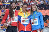 DONETSK, UKRAINE - JULY 14: Medalists in pole vault during 8th IAAF World Youth Championships in Don