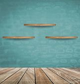 Empty wood shelf on blue brick wall. Vector illustration.