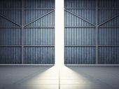 Bright light in open hangar doors