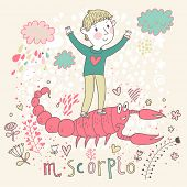 Cute zodiac sign - Scorpio. Vector illustration. Little boy playing with big pink scorpion. Backgrou