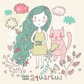Cute zodiac sign - Aquarius. Vector illustration. Little girl with long beautiful hair with her pink