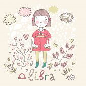 Cute zodiac sign - Libra. Vector illustration. Little girl riding on pink horse and shooting arrows.