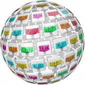 A sphere or ball of tiles with words related to a resume such as activities, references, education, skills, experience and awards