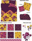 Bold Floral Bedding Patterns and Icons.  Great for art and craft projects.