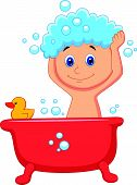 Cute cartoon boy having bath