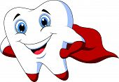 pic of tooth-fairy  - Vector illustration of Cute cartoon superhero tooth posing - JPG