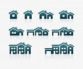 stock photo of chimney  - Vector various house icon set - JPG