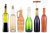 wine, champagne, bottles set