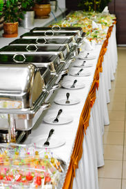 picture of chafing  - chafing dish heaters at the banquet table