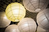 Hanging White And Yellow Paper Lanterns