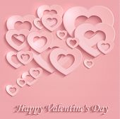 heart love valentine paper 3D pink vector
